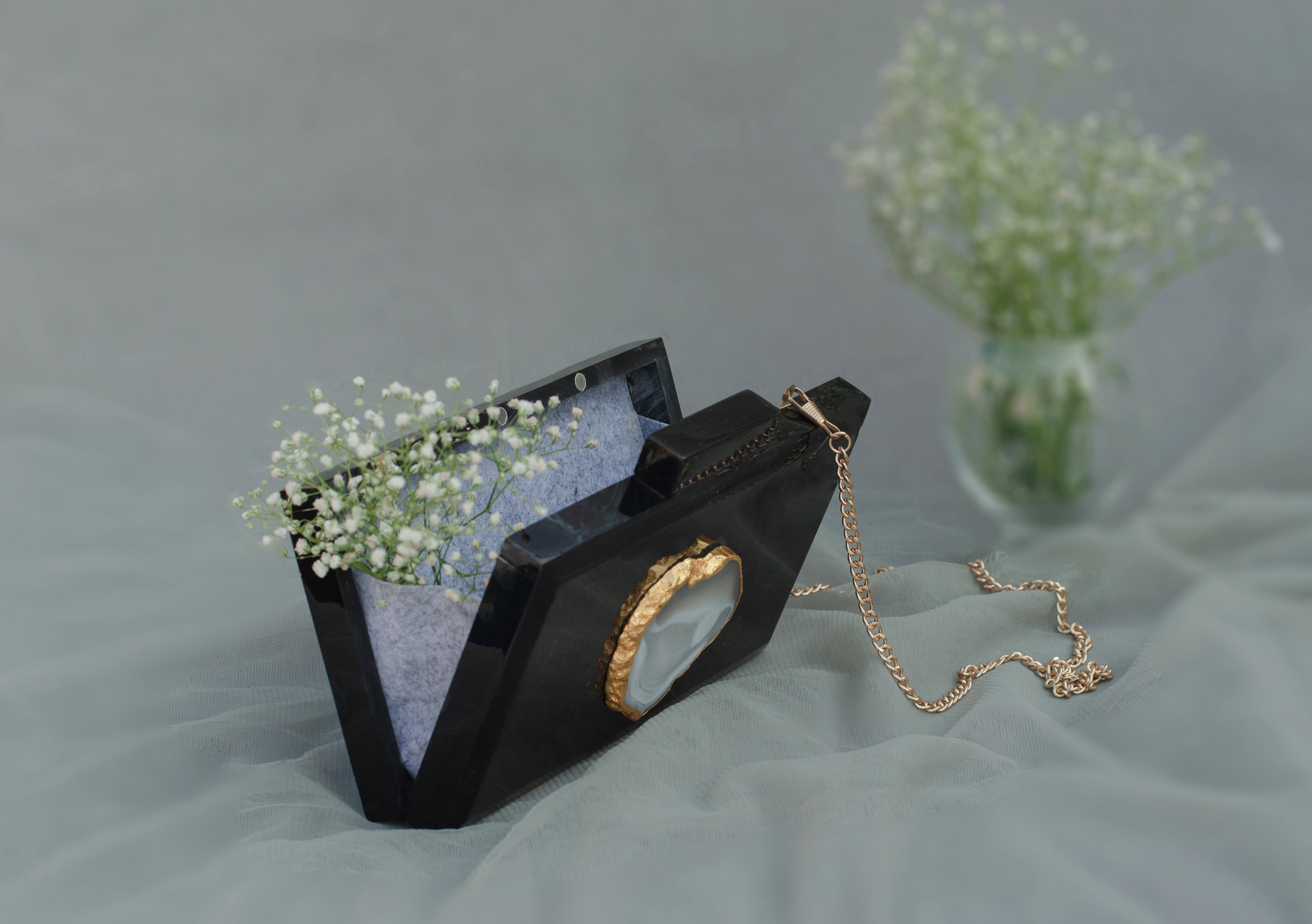 The Black Baroque Rectangular Clutch - SOUL EARTH