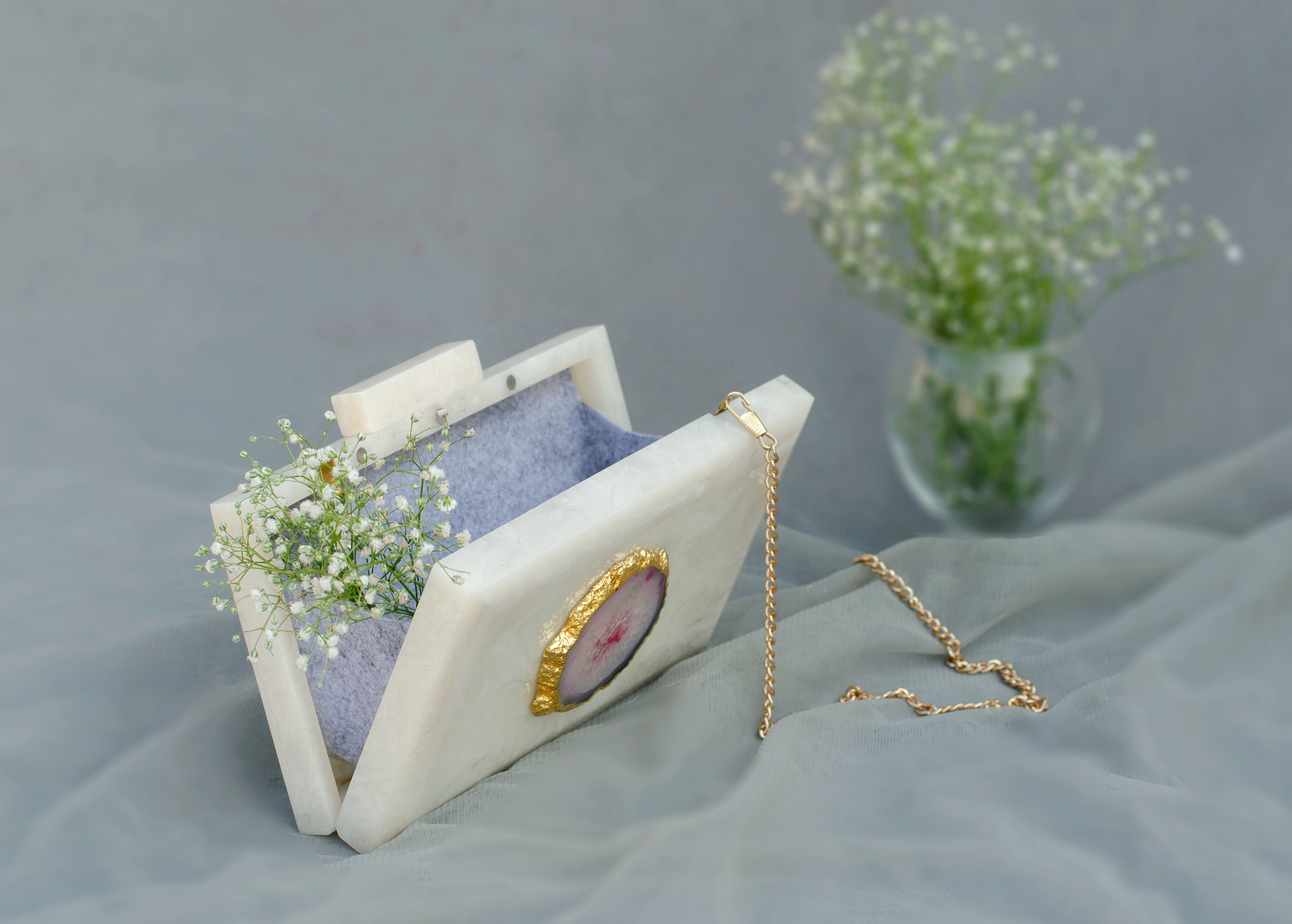 The White Baroque Rectangular Clutch - Pink Stone - SOUL EARTH