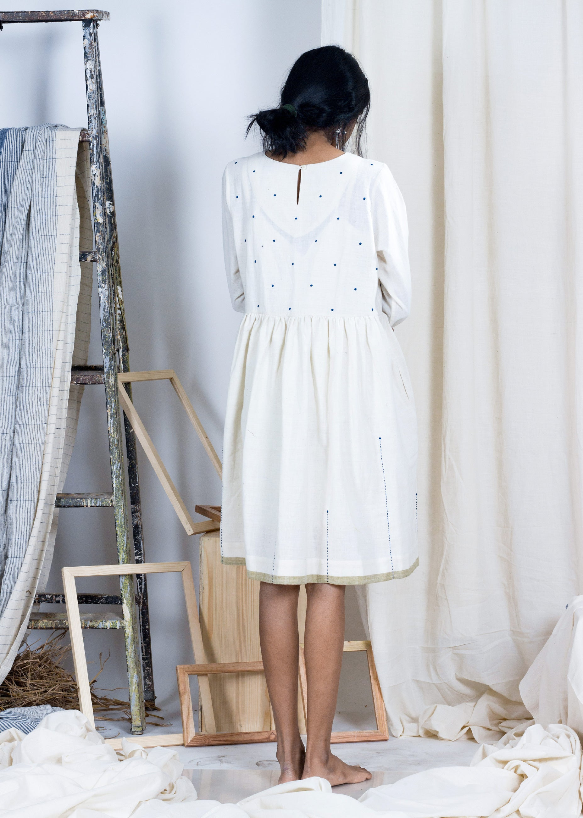 Akaigawa - Kora Cotton Polka Dress - SOUL EARTH