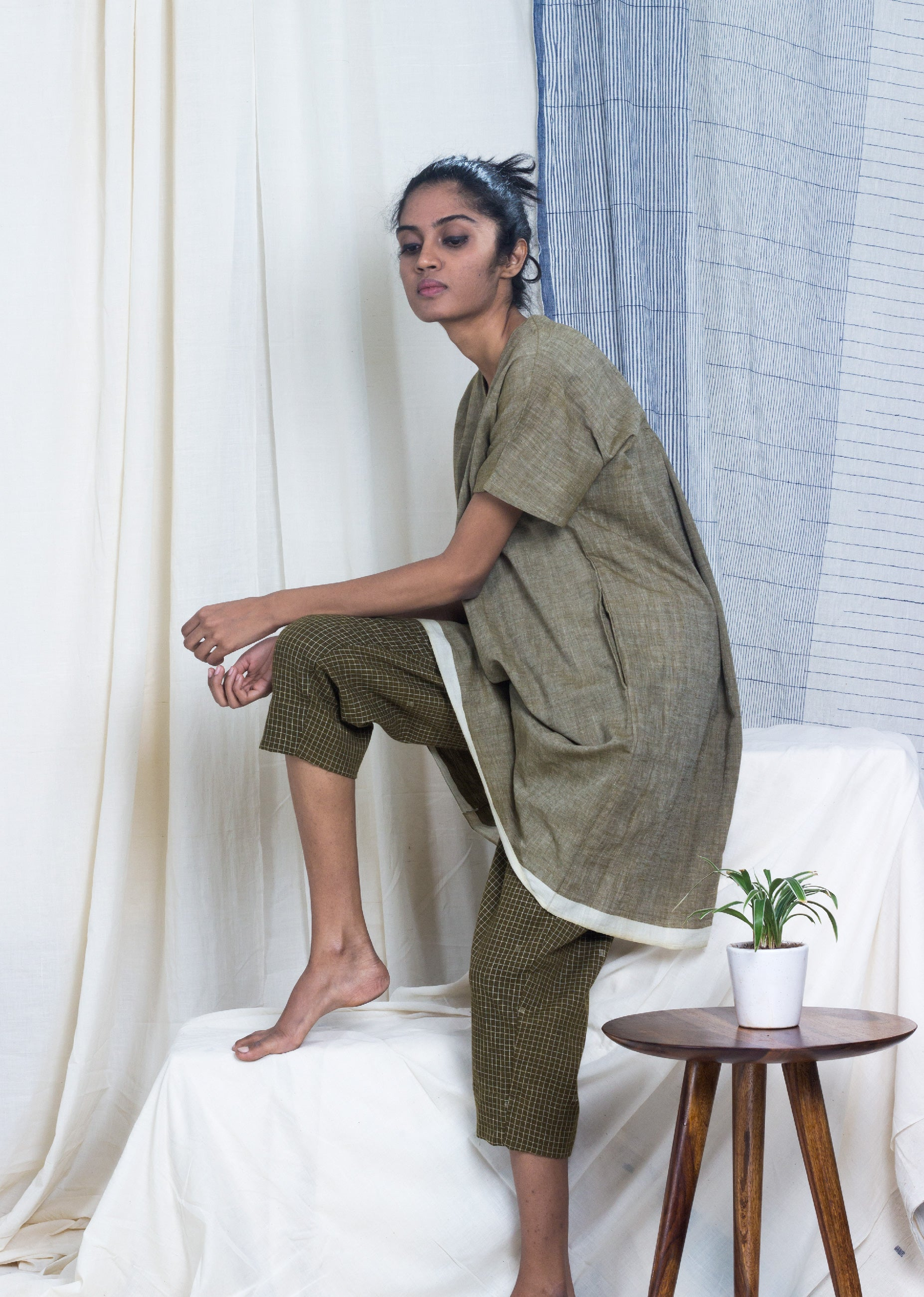 Iitate - Chambray Tunic with Grid Check Pant Set - SOUL EARTH