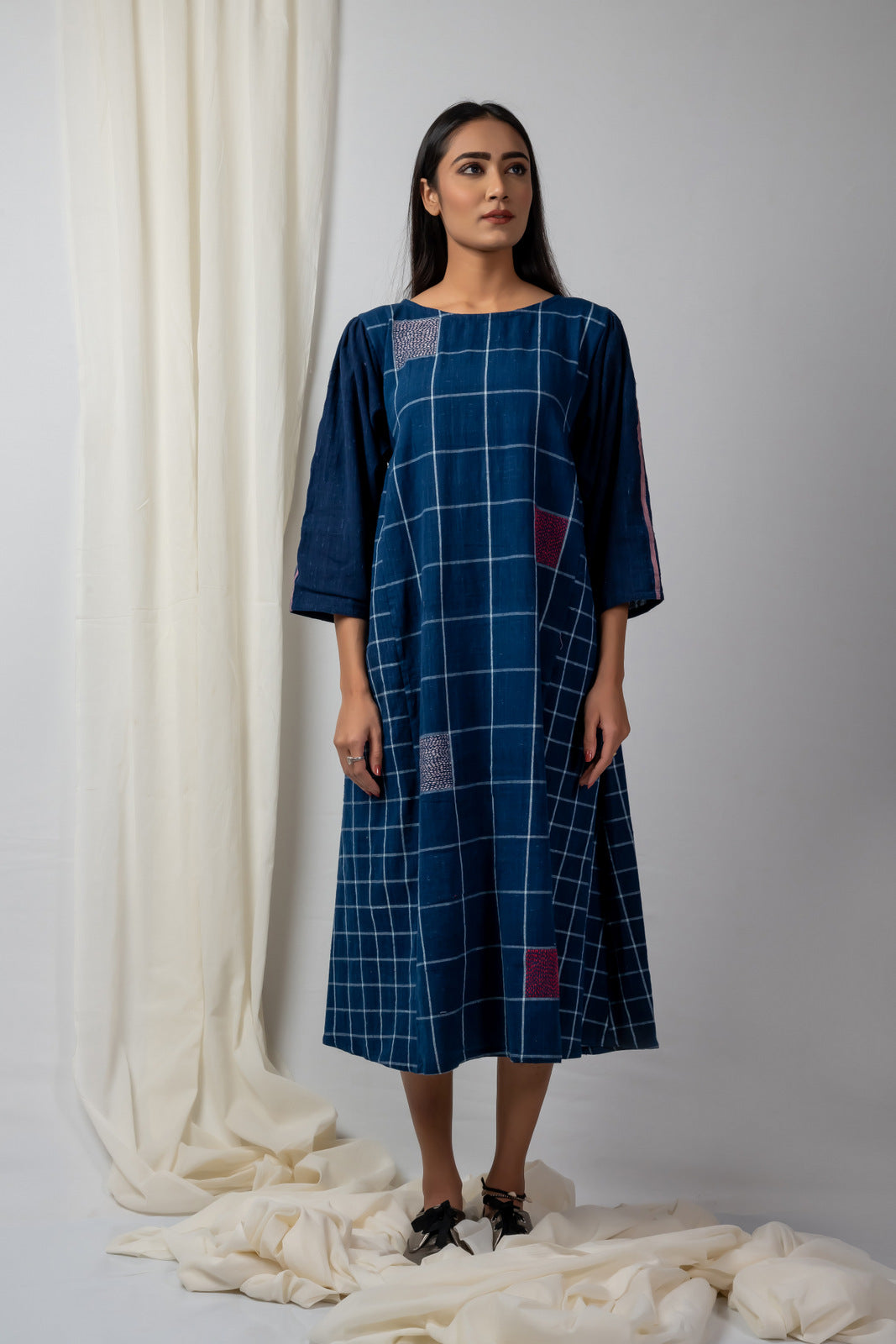 Indigo Checks and Fills Batwing Sleeve Tunic - SOUL EARTH