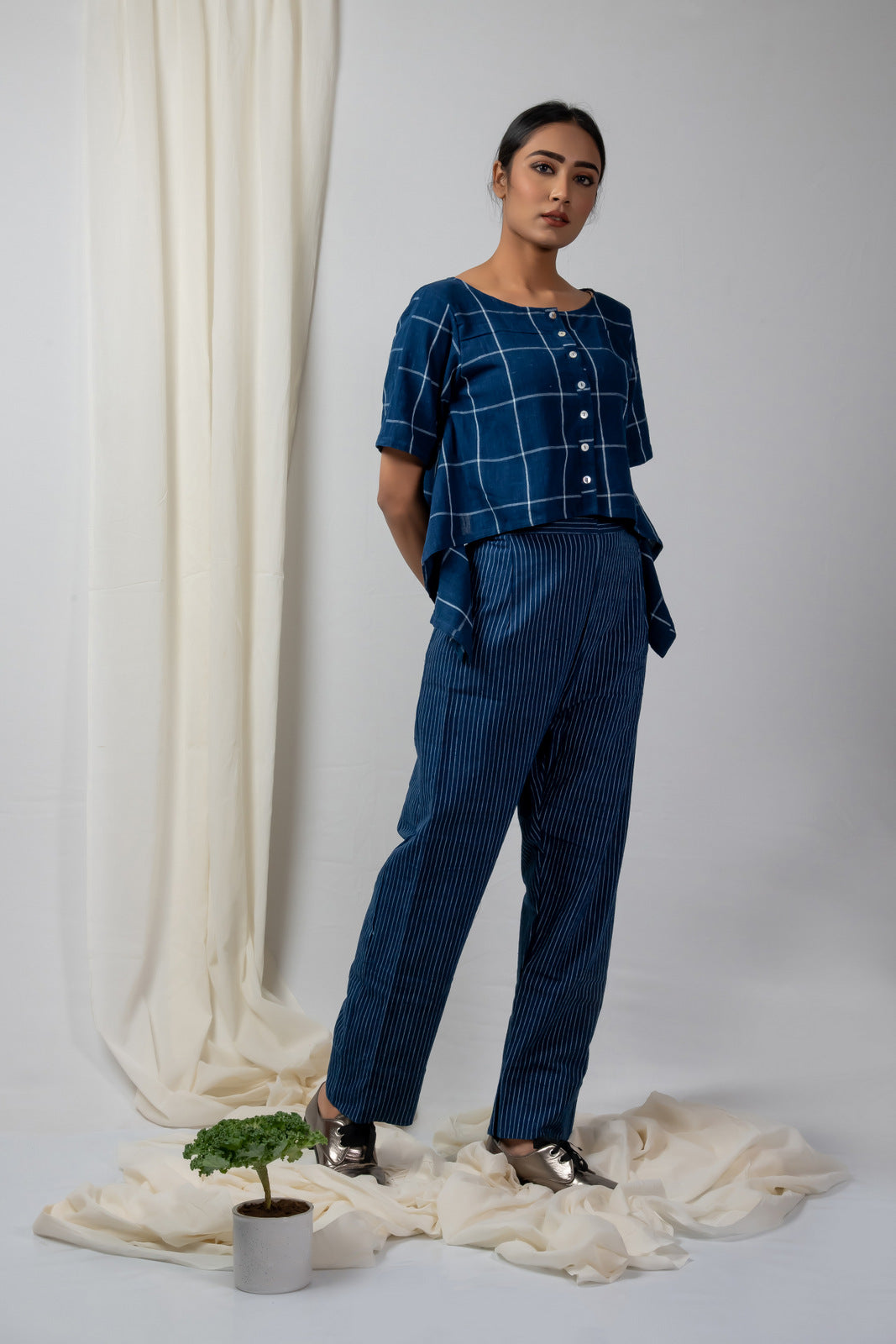 Indigo Checks Asymmetric Top and Pants Set - SOUL EARTH