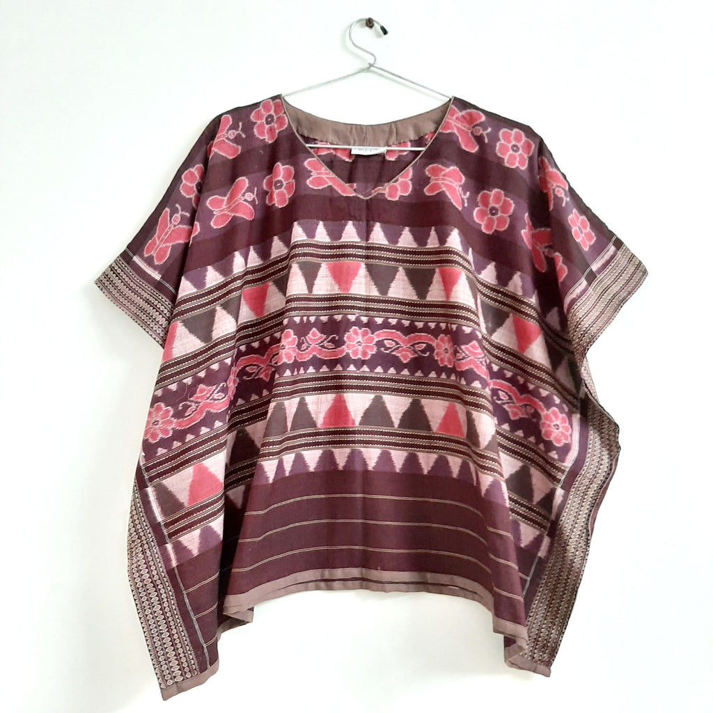 Coffee and Pink Cotton Ikat Poncho