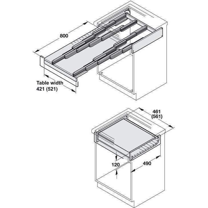 Hafele Pull Out Table System For Kitchen Cabinets 100 Kg