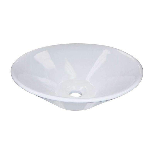 White Ceramic Round Vessel Bathroom Sink-Bathroom Ceramic Sinks-www.Parts4Cabinets.com