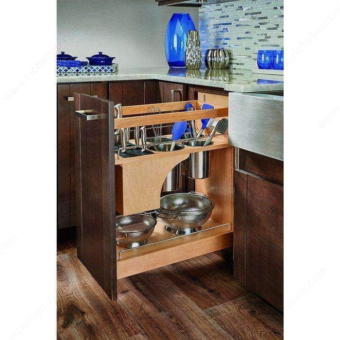 Base Pull Out With Blumotion Utensil Bins And Knife Block