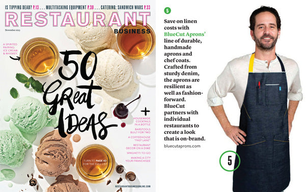 BlueCut Aprons featured in Restaurant Business Magazine