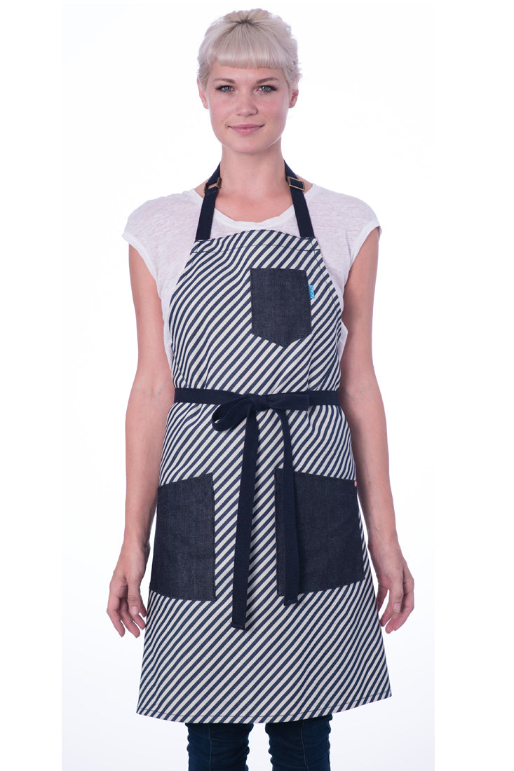 NIGEL APRON BIAS STRIPE NAVY