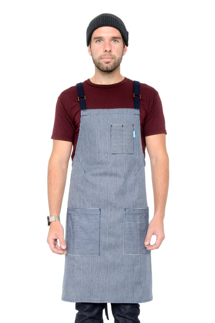 LUCCA CROSS BACK APRON MINI STRIPED DENIM