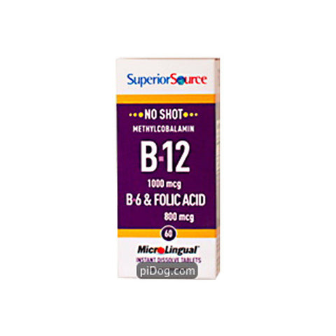 No Shot Methylcobalamin B12 1000mcg/B6/Folic Acid 12/60 Ct