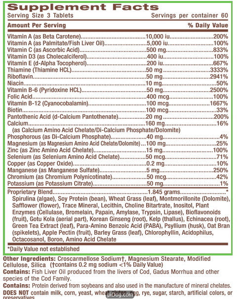 Life S Fortune Multi Vitamin 180 Tabs The Green House