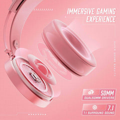PeohZarr Pink Gaming Headset
