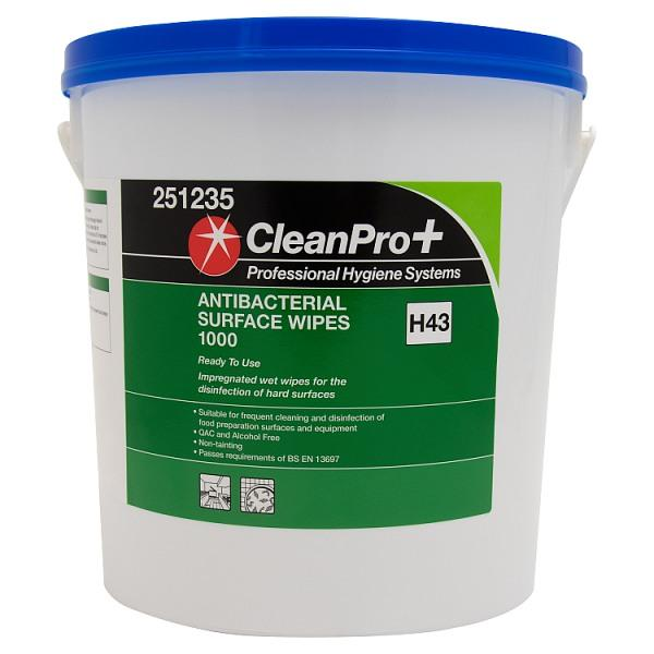 Cleanpro+ Antibacterial Surface Wipes Large Commercial Tub of 1000 Sanitisers - PPE Supplies UK
