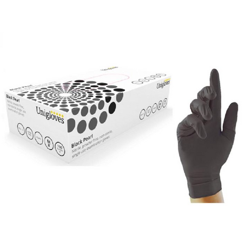 Unigloves Black Powder Free Nitrile Gloves (pack of 100) - PPE Supplies UK