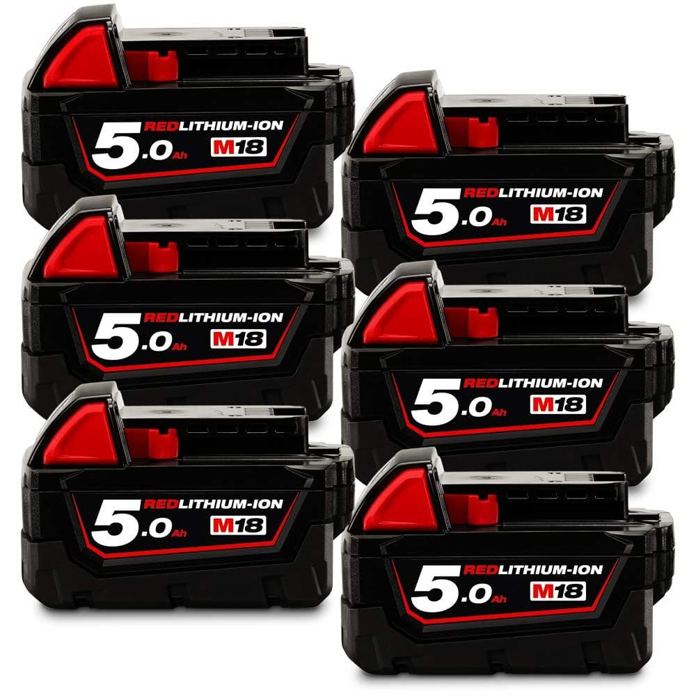 Milwaukee-M18B56-6-Pack-18V-5.0Ah-Red-Li-Ion-Cordless-Battery-Combo-Set