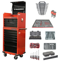 "Gearwrench 22222 251 Piece Metric & SAE 7 Drawer 26"" Red Tool Chest Kit & Trolley"