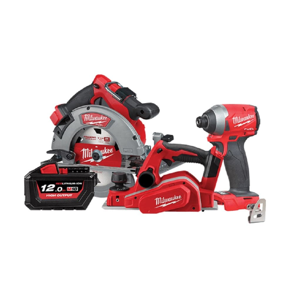 Milwaukee M18XP3A-121 3 Piece 18V 12.0Ah FUEL Cordless Carpenters Booster Combo Kit