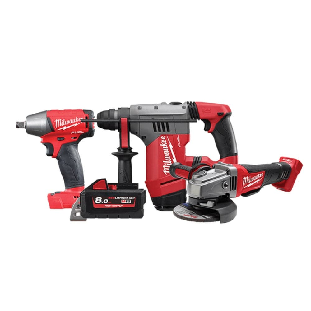 Milwaukee M18XP3B-801 3 Piece 18V 8.0Ah FUEL Cordless Construction Booster Combo Kit