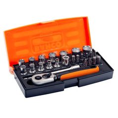 "Bahco SBSL25 25 Piece 1/4"" Square Drive Metric Chrome Socket Set"