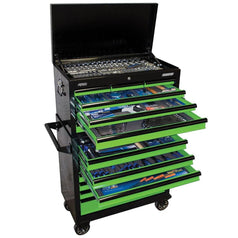 SP-Tools-SP50177-407-Piece-Metric-SAE-14-Drawer-Black-Green-SUMO-Roller-Cabinet-Tool-Chest-Kit