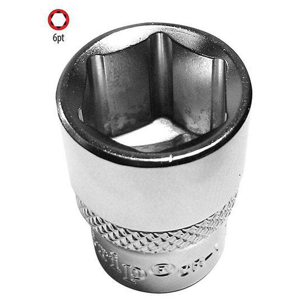 "AuzGrip AuzGrip A75545 1/2"" 6 Point 3/8"" Square Drive Chrome Socket"