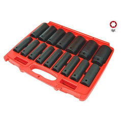 "AuzGrip AuzGrip A84616 16 Piece Metric 6 Point 1/2"" Square Drive Deep Impact Socket Set"