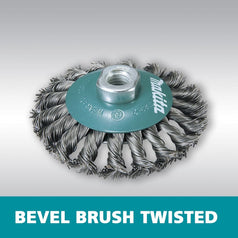 Makita D-55407 100mm x M14 Bevel Twisted Wire Wheel Brush