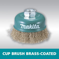 Makita D-55354 75mm x M14 Brass Coated Crimped Cup Wire Wheel Brush