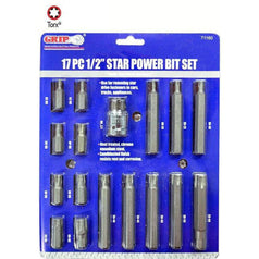 "Grip Grip 71160 17 Piece T20-T60 1/2"" Square Drive Long & Short Torx Bit Set"
