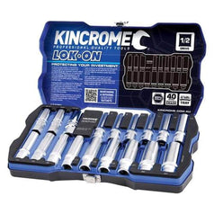 "Kincrome Kincrome K27060 18 Piece 1/2"" Square Drive Lok-On Spark Plug Socket Set"