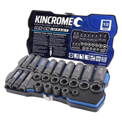 "Kincrome Kincrome K27074 24 Piece Metric 1/2"" Square Drive Lok-On Impact Socket Set"