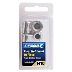 Kincrome Kincrome K4951 10 Piece M10 Zinc Coated Steel Rivet Nut Insert Set