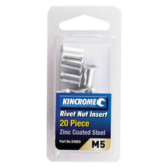 Kincrome Kincrome K4955 20 Piece M5 Zinc Coated Steel Rivet Nut Insert Set
