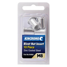 Kincrome Kincrome K4958 10 Piece M8 Zinc Coated Steel Rivet Nut Insert Set