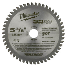 "Milwaukee Milwaukee 48404075 135mm (5-3/8"") 50T Non-Ferrous Metal Circular Saw Blade"