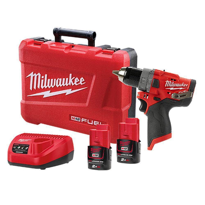 Milwaukee Milwaukee M12FPD-202C 12V 2.0Ah 13mm FUEL Cordless Hammer Drill Driver Kit