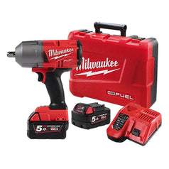 "Milwaukee Milwaukee M18FHIWP12-502C 18V 5.0Ah 1/2"" FUEL Cordless High Torque Pin Detent Impact Wrench Kit"