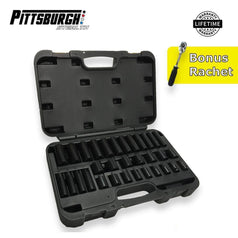 "Pittsburgh Pittsburgh 73520 32 Piece 3/8"" Square Drive 7-22mm 6 Point Deep & Standard Impact Socket Set with Bonus Ratchet"