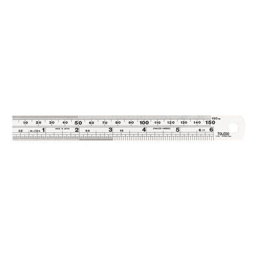 "Toledo Toledo 150A6 150mm (6"") Metric & SAE Stainless Steel Single Sided Ruler"