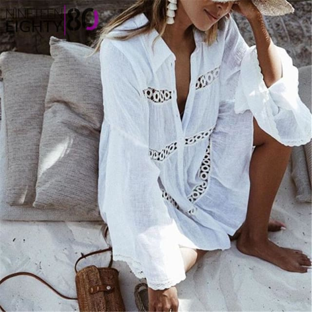 Women's Clothing See-through Summer Blouse Shirt Sexy Women Maxi Bikini Cover Ropa Sheer Mesh Solid Kimono Cardigan Loose Outerwear Beachwear Fine Workmanship