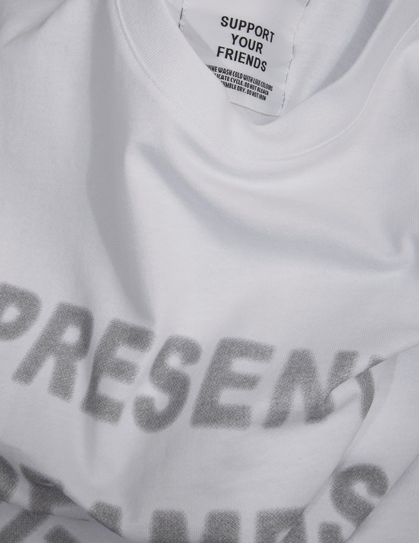 Closeup of KROST Future Leaders white cotton tee.