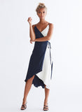 Ali & Jay Cali Romanza Midi Dress Navy and Ivory Colorblock Front