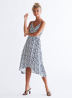 Ali & Jay Cali Romanza Midi Dress Navy and Ivory Print  Front