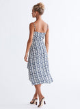 Ali & Jay Cali Romanza Midi Dress Navy and Ivory Print Back