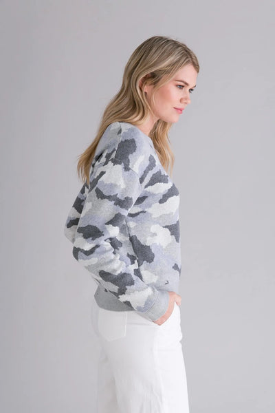 Alashan Cashmere Nadia Cotton Cashmere Pullover in Mineral Camo Style Number LC2015-8019;Women's Cotton Cashmere Blend Sweater;Women's Grey Camo Cotton Cashmere Pullover;Women's Spring Cotton Cashmere Sweater;Women's Online Clothing and Accessories Boutique;Shopbfree;shopbfree.com;Bfree Warwick;Bfree Wyckoff;Bfree_boutique;bfreebabe;MyBfreeStyle