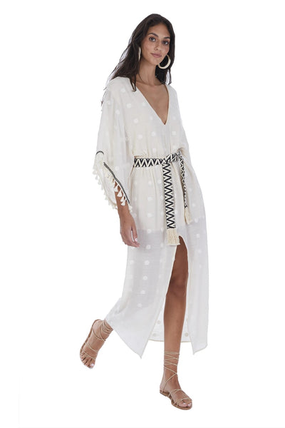 Allison NY Embroidered Kaftan Dress Style Number SASS20030 in Ecru on shopbfree.com