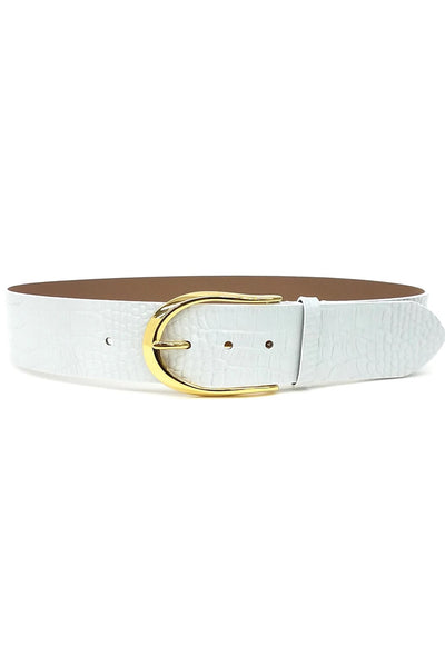 B-Low the Belt Erin Croco Waist Belt Style Number BH644-710LE in Gesso Gold;Women's Leather Croc Belt;Women's White Leather Belt;Women's Belt;Women's Online Clothing and Accessories Boutique;Bfree Warwick;Bfree Wyckoff;Bfree_boutique;bfreebabe;Shopbfree;shopbfree.com;MyBfreeStyle