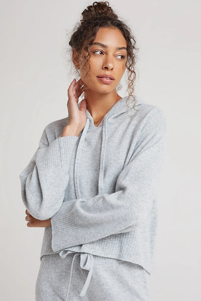 Bella Dahl Cashmere Sweater Hoodie Style W4743-C55-300 in Heather Grey;Women's Lounge wear;Women's Cashmere Sweater;Women's holiday gift idea;Women's Cashmere;Women's Winter Loungewear;Women's online clothing and accessories boutique;Shopbfree;Bfree_boutique;bfreebabe;MyBfreeStyle;Women's Cashmere Hoodie