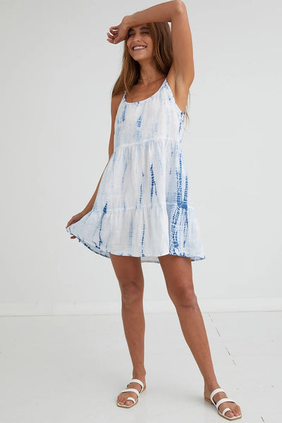 Bella Dahl Clothing Strappy Tiered Dress Style Number W6945-331-445 NVYTD in Navy Tie Dye;Women's Spring And Summer Dress;Tie Dye Dress;Mini Dress;Strappy Dress;Bella Dahl Tie Dye Dress;Bella Dahl Dress;Women's Online Clothing and Accessories Boutique;Shopbfree;shopbfree.com;Bfree Warwick;Bfree Wyckoff;Bfree_boutique;bfreebabe;MyBfreeStyle