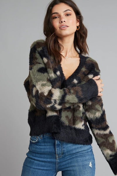 Women's Sweater Cardigan Bella Dahl Fuzzy Camo Cardigan Style Number 4345-B90-304 on shopbfree.com